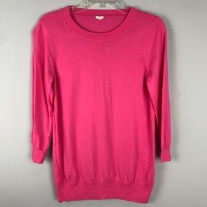 J Crew Bright Pink  Light Weight Sweater